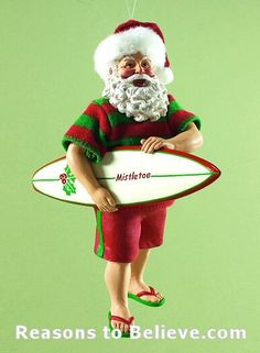Surfing Santa ornament.  Clothtique Collectible Santa figurines by Possible Dreams. Hand crafted from stiffened fabric and resin, this eye-catching figure is skillfully hand-sewn and hand-painted with exceptional attention to detail. Uncanny realism that adds up to a one-of-a-kind Christmas experience for everyone who falls under the Possible Dreams clothtique spell. Comes in it's own beautiful Possible Dreams gift box and makes a perfect gift....or add another one to your own collection.
