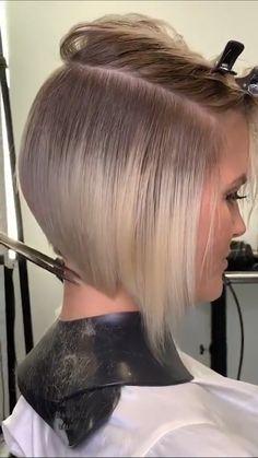Hair Cutting Videos, Hair Cutting Techniques, Hair Color Techniques, Hair Videos, Bob Hairstyles For Fine Hair, Short Hair Cuts, Short White Hair, Hair Transformation, Hair Hacks