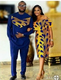 African Couple's outfit/ prom dress/ankara jacket/wedding gown/wedding suit/african men's clothing/d African Prom Dresses, Latest African Fashion Dresses, African Print Fashion, African Dress, African Prints, Latest African Wear For Men, Ankara Fashion, Africa Fashion, 50s Dresses