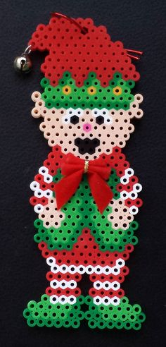 Week 29, Day 202, Elf. 365 Day Perler Bead Challenge. Perler Bead Designs, Diy Perler Beads, Melty Bead Patterns, Hama Beads Patterns, Beading Patterns, Christmas Perler Beads, Beaded Christmas Ornaments, Plastic Bead Crafts, Beading For Kids