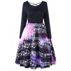 Criss Cross Music Notes Swing Dress : Cheap Fashion online retailer providing customers trendy and stylish clothing including different categories such as dresses, tops, swimwear. Teen Fashion Outfits, Stylish Outfits, Cool Outfits, Fashion Dresses, Woman Outfits, Pretty Outfits, Pretty Dresses, Beautiful Dresses, Music Dress