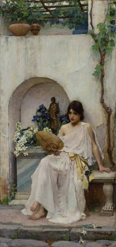 Flora - John William Waterhouse - lovely draped, transparent gown with rough cut belted scarf.