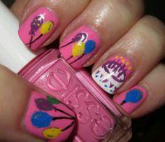 Balloons and Cake Birthday Nail Design. See more at - http://www.naildesignsforyou.com/birthday-nails-designs-tutorials/ | http://www.naildesignsforyou.com