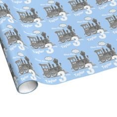 Boys name age train loco blue grey birthday gift wrapping paper