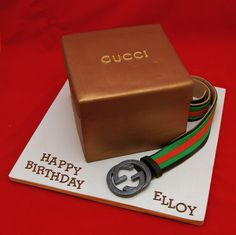 - 3D Gucci Gift Box Cake and Men's Gucci Belt