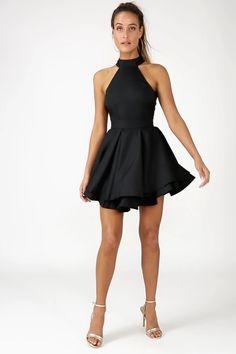 fbcc98b6eaa9 Cute Black Skater Dress - LBD - Homecoming Dress Wedding Rehearsal Outfit
