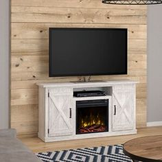 Laurel Foundry Modern Farmhouse Lorraine TV Stand for TVs up to with Electric Fireplace Included Color: Sargent Oak Coastal Living Rooms, Living Room Tv, Farmhouse Tv Stand, Modern Farmhouse, Lorraine, Electric Fireplace Tv Stand, Tv Stand With Fireplace, Tv Fireplace, Gas Fireplaces