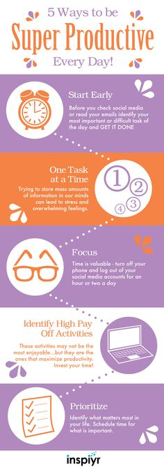 5 Ways To Be Super Productive Everyday! By Inspiyr.com // Have too much to do and too little time to do it? Try these 5 tips to be more productive and reach your goals every day! #Inspiyr