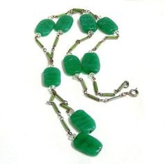 Art Deco Green Molded Glass and Enamel Necklace ($108) ❤ liked on Polyvore featuring jewelry, necklaces, green jewelry, art deco necklace, womens jewellery, glass jewelry and glass necklace