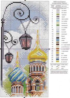 0 point de croix grille et couleurs de fils russie