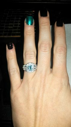 Aquamarine wedding ring with double bands.