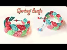 How to macrame: Spring leafs bracelet - YouTube