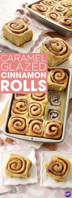 Caramel Glazed Cinnamon Rolls Recipe - Is there anything better than the smell of fresh cinnamon rolls baking in the oven? How about fresh homemade cinnamon rolls with a delicious caramel glaze? Now you're talking. Bake these for breakfast, brunch, Christmas morning or just because. You'll be the family favorite once you learn to make these homemade cinnamon rolls glazed with caramel.