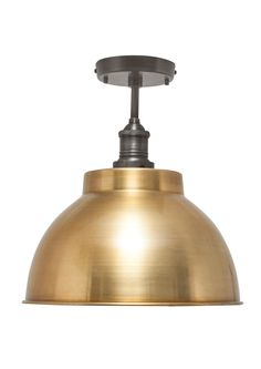 Our stylish Brooklyn Vintage Metal Dome Flush Mount Light by Industville is an antique retro styled metal lampshade in a brass finish.