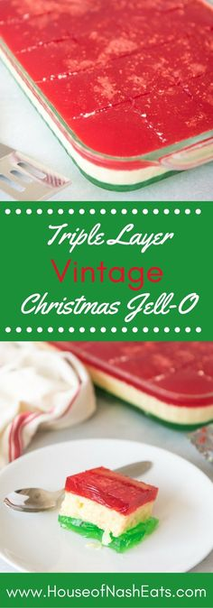 There's always room for Jell-O, especially one as festive and fun as this Triple Layer Vintage Christmas Jell-O Salad with red, white and green layers that are perfect for Christmas dinner! dinner desserts Triple Layer Vintage Christmas Jell-O Salad Jello Recipes, Köstliche Desserts, Delicious Desserts, Dessert Recipes, Dessert Salads, Finger Desserts, Famous Desserts, Recipies, Mexican Desserts