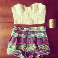 cute outfit. Lace top with tribal aztec shorts with a simple bracelet