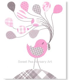 Girl Nursery Art Bird Gray and Pink Toddler Kids Girls Room Decor Children Balloons Art Print 8 x 10 or 11 x 14