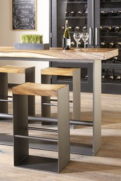 Chamcha Wood Iron Bar Collection – Contemporary Transitional Organic Barstools & Counter Stools – Dering Hall – metal of life Welded Furniture, Iron Furniture, Steel Furniture, Industrial Furniture, Furniture Makeover, Furniture Design, Outdoor Furniture, Repurposed Furniture, Office Furniture