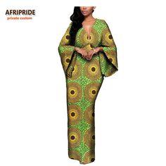 715ddfcda4 African Batik Flare Sleeve V-Neck Dress