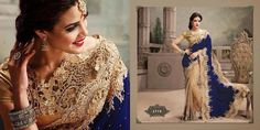 Absolutely gorgeous Blue Velvet and lace saree - DeesSarees