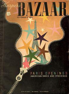 Harper`s Bazaar September 15 by A.M Cassandre Art Nouveau, Art Deco, Vintage Magazines, Vintage Ads, Vintage Posters, Fashion Magazines, Vintage Vogue, Fashion Magazine Cover, Magazine Covers
