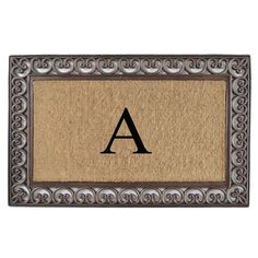 First Impression Natural/ Brown Rubber/ Coir Classic Paisley Border Extra-large Doubledoor Monogrammed Doormat (Monogrammed V)