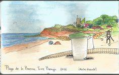 Torre Bermeja desde la Playa de La Barrosa Lápices acuarelables