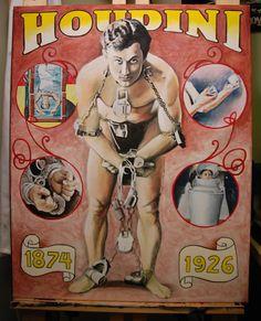 Harry Houdini Compilation,  original acrylic on canvas portrait art by Kim Overholt.