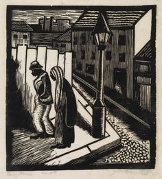 JAMES LESESNE WELLS (1902 - 1992)  Barry Place.   Linoleum cut on tissue-thin Japan paper, 1932.