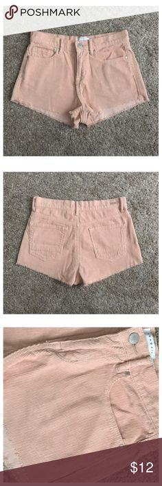 """Kendall & Kylie Size 25 Pink Corduroy Shorts Excellent condition; Across waist - 14.25"""", Front rise - 10"""", Inseam - 1.5""""; 100% cotton Kendall & Kylie Shorts"""