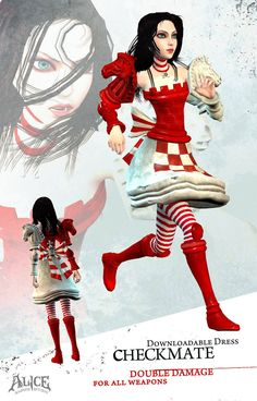 View an image titled 'Checkmate Costume Art' in our Alice: Madness Returns art gallery featuring official character designs, concept art, and promo pictures. Alice Madness Returns, Character Costumes, Character Art, Character Design, Go Ask Alice, Alice Costume, Alice Liddell, Were All Mad Here, Alice In Wonderland