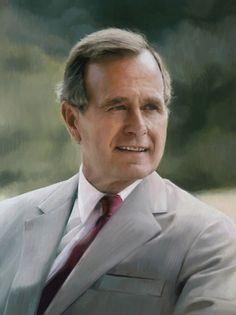 Oil Portrait of President George H. Bush by Portrait Artist Scott Wallace Johnston