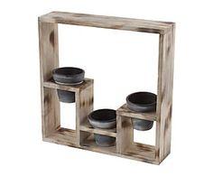 Crisol de madera DM y cerámica - 3 piezas