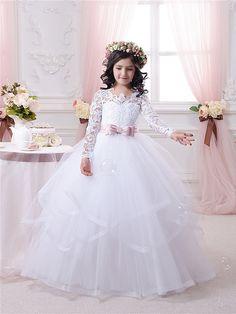 Spitze weiß Blumenmädchen Kleid - Geburtstags Brautjungfern Hochzeitsfest weißer Spitze Tüll Blumenmädchen Kleid