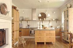Open shelving and wood floor