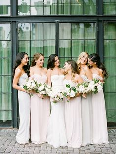 Bridesmaid Gowns Non-Traditional Bridesmaid Dresses for Your Summer Wedding by What Wear featured Amsale Bridesmaids Gowns - You're going to love these. Amsale Bridesmaid, Bridesmaid Dresses Under 100, Mismatched Bridesmaid Dresses, Bridesmaids And Groomsmen, Wedding Bridesmaids, Bridesmaid Bouquets, Wedding Robe, Wedding Gowns, Bridesmaid Inspiration