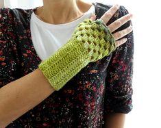 Blended Green Fingerless Gloves Crochet Mittens by bysweetmom, $25.00