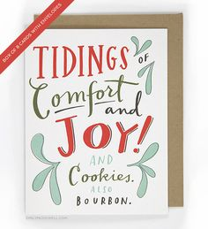 Funny Holiday Card: Comfort and Joy and por emilymcdowellstudio