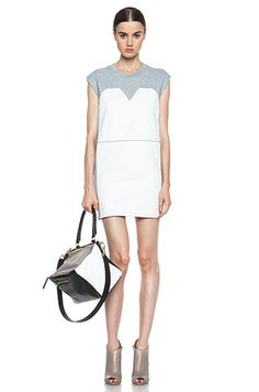 MM6 BY MAISON MARTIN MARGIELA Dress with Leather in Grey/White