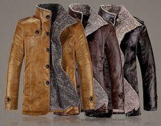Men's Quality PU Leather Slim Fit Plush Lining Warm Jacket at Banggood,$38.98