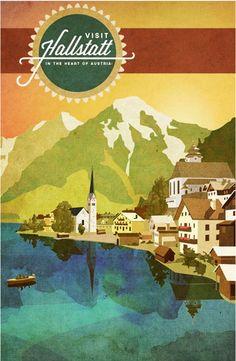 Travel poster of Hallstatt, Austria