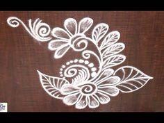 Very Creative & Simple Kolam / rangoli Design without using Dots Indian Rangoli Designs, Rangoli Designs Flower, Small Rangoli Design, Rangoli Designs Images, Beautiful Rangoli Designs, Flower Designs, Rangoli Colours, Rangoli Patterns, Stencil Patterns