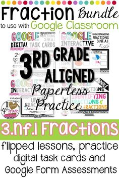 Looking for Google Classroom Elementary ideas?  How about Google Classroom for math?  This 3rd grade Google Classroom resource is aligned to CCSS 3.NF.1 and includes:  2 flipped lessons, 2 interactive practices, digital worksheets, digital task cards, and 4 Google Forms.  Paperless No Prep Practice for 1:1 Classrooms and Classrooms with Devices.