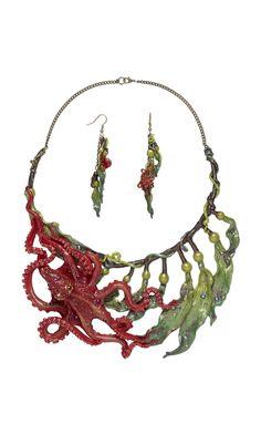 "Design Idea G93Q ""Kelp Garden"" by Designer Starsha Battrick. Fire Mountain Gems and Beads' Contest 2016 featuring Creative Clays -- Finalist  #jewelrymakingcontest #polymerclay #jewelrydesign #jewelryart #clayart #diyjewelry"