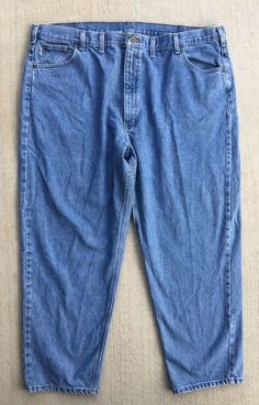 Carhartt Blue Jeans Pants Men's Size 48 x 30 Relaxed Fit 100% Cotton Free Ship  #Carhartt #Relaxed
