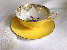 Sunshine Yellow Shelley Tea Cup and Saucer, English Teacups, Tea Set, Tea Cups, Yellow Tea Cups, Violets Cup, Shelley China, VogueTeam