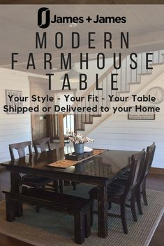 Beautiful handmade farmhouse dining tables in the right size for your family and the style you need. Customize a Square farmhouse dining table then choose from delivery or shipping options for your location. The James+James team will build your table in Northwest Arkansas then ship or deliver it to your home. Visit CarpenterJames.com to get started today! Solid Wood Dining Table, Dining Room Table, Wood Table, Modern Farmhouse Table, Rustic Table, Solid Wood Furniture, Dining Furniture, Square Tables, Delivery