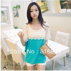 Nova Frete Grátis renda moda coreano estilo chiffon pescoço o-batwing manga mulheres T-shirt blusas encabeça roupas femininas duas cores