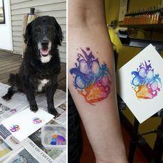 Post with 0 votes and 169283 views. Dog paw print art is great fun Diy Tattoo, Get A Tattoo, Tattoo Cat, Tattoo Fonts, Pet Tattoo Ideas, Corgi Tattoo, Tattoo Quotes, Tattoo Wolf, Text Tattoo