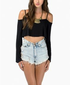 SheIn offers Black Spaghetti Strap Long Sleeve Crop Blouse & more to fit your fashionable needs. Black Off Shoulder, Off Shoulder Crop Top, Long Sleeve Crop Top, Long Sleeve Shirts, Cold Shoulder, Shoulder Strap, Teen Girl Outfits, Outfits For Teens, Plus Size Outfits